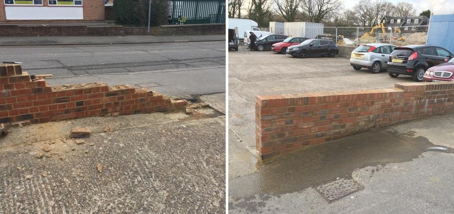Brick wall repair in Brighton
